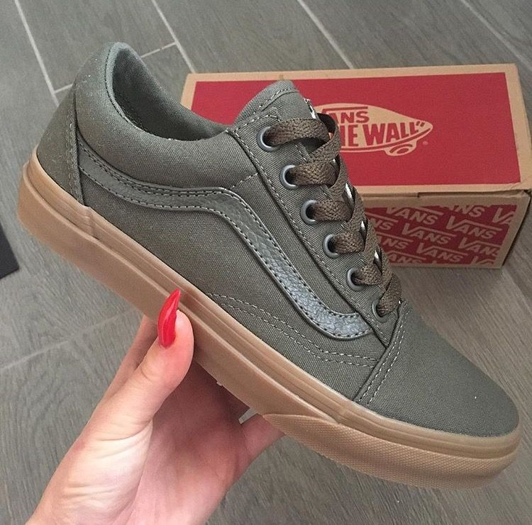 5ffe58f3eaec Khaki green vans old skool olive green ladies footwear off the wall gumsole