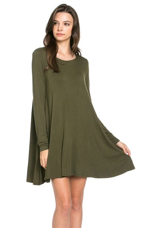 Knit Pocket Dress: Olive