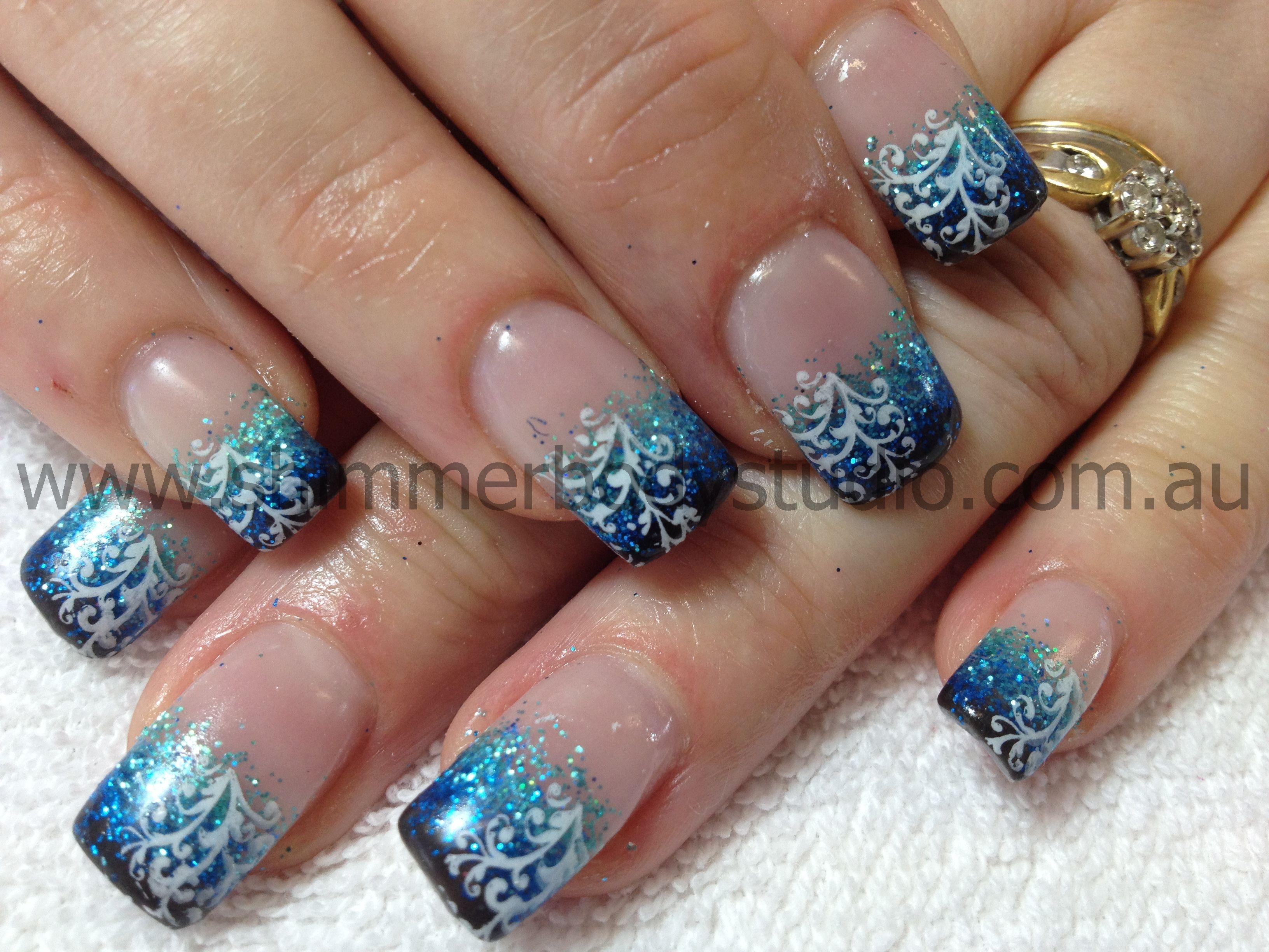 Glitter nails gel nails blue nails konad stamping nail art