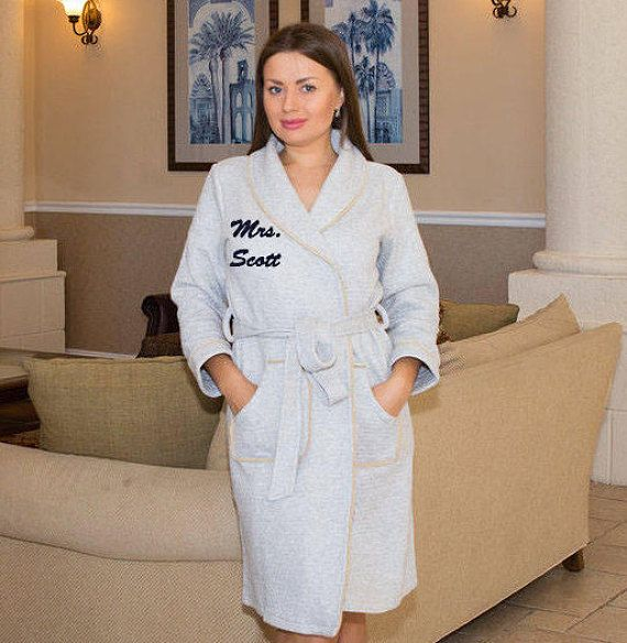 5120b1c54f Personalized bath robe Bridal customized gift His and hers