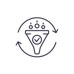 filtering line icon with funnel
