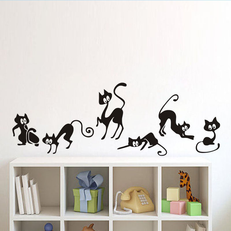 6 Black Cute Cats Wall Sticker Home Decor Wall Stickers Bedroom