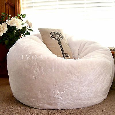 Large Round Bean Bag Cloud Chair Lounger White Luxury Faux Fur