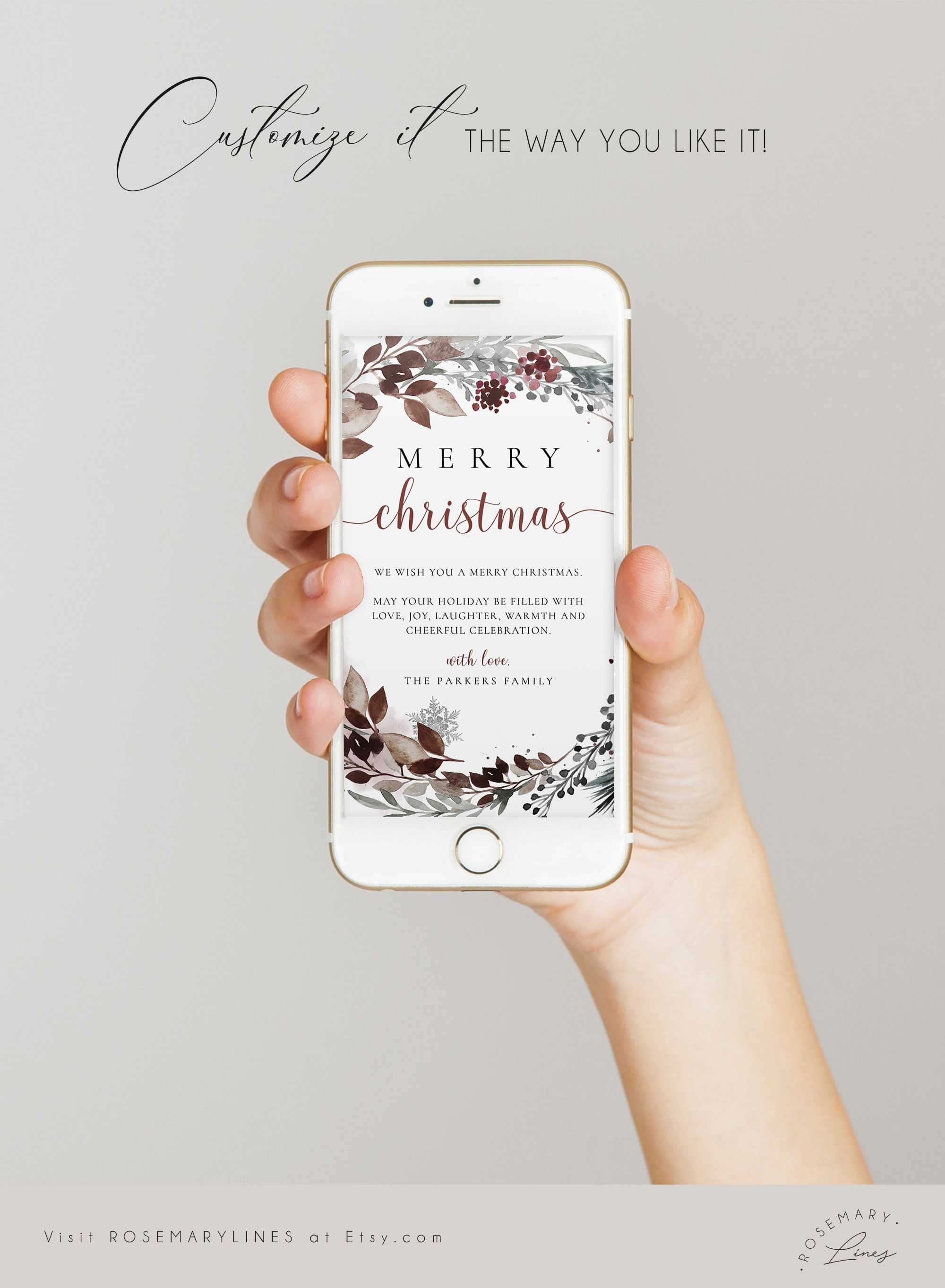 Electronic Christmas Card Template Family Holiday Card For Etsy In 2021 Electronic Christmas Card Christmas Card Template Family Holiday Cards