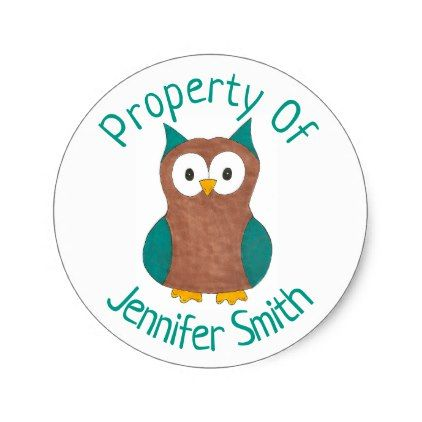 Property of personalized wise brown owl bird classic round sticker 5 50 by rebeccaheartsny cyo diy