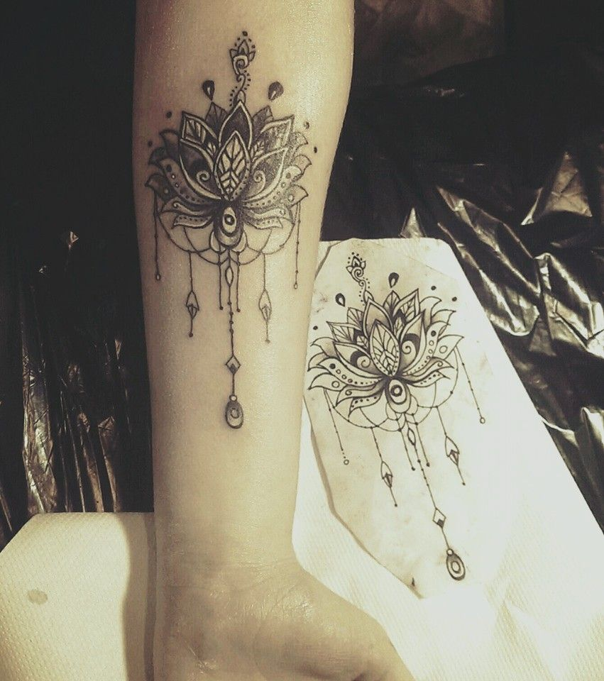 Lotus mandala tattoo tattoo pinterest lotus mandala tattoo the lotus flower is the most popular flower tattoos it is a feminine delicate and very attractive spiritual and philosophical design but also one of izmirmasajfo Image collections