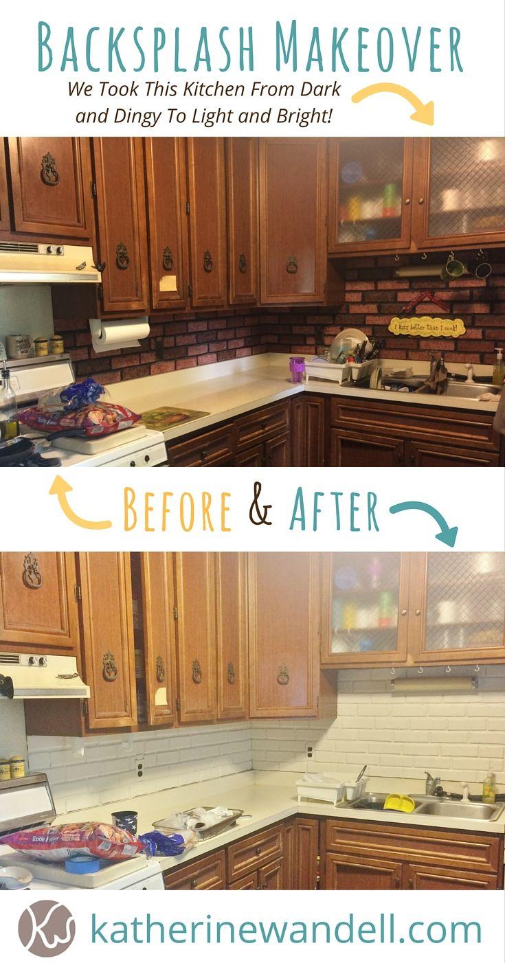 How To Brighten Up A Dark Kitchen Without Painting One Simple Way To Brighten Up A Dark Kitchen Backsplash Woman By Design Dark Kitchen Kitchen Backsplash Backsplash