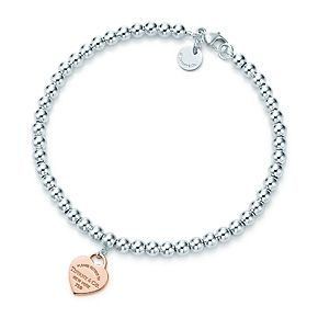 91e5d71d1ef Return to Tiffany™ heart tag bead bracelet in 18k rose gold and sterling  silver.