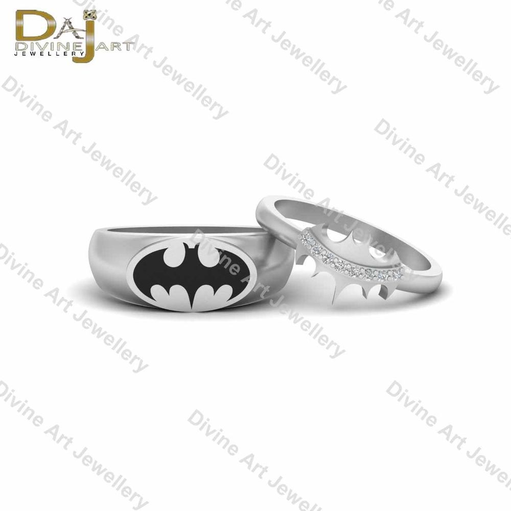 Diamond Holy Smokes Batman And Batgirl Couple Ring Set Superhero Cosplay Jewelry Daj Eternity Wedding Couples Ring Set Cosplay Jewelry Couple Rings