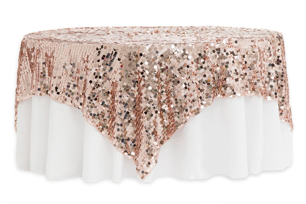 Large Payette Sequin Table Overlay Topper 90 X90 Square Blush