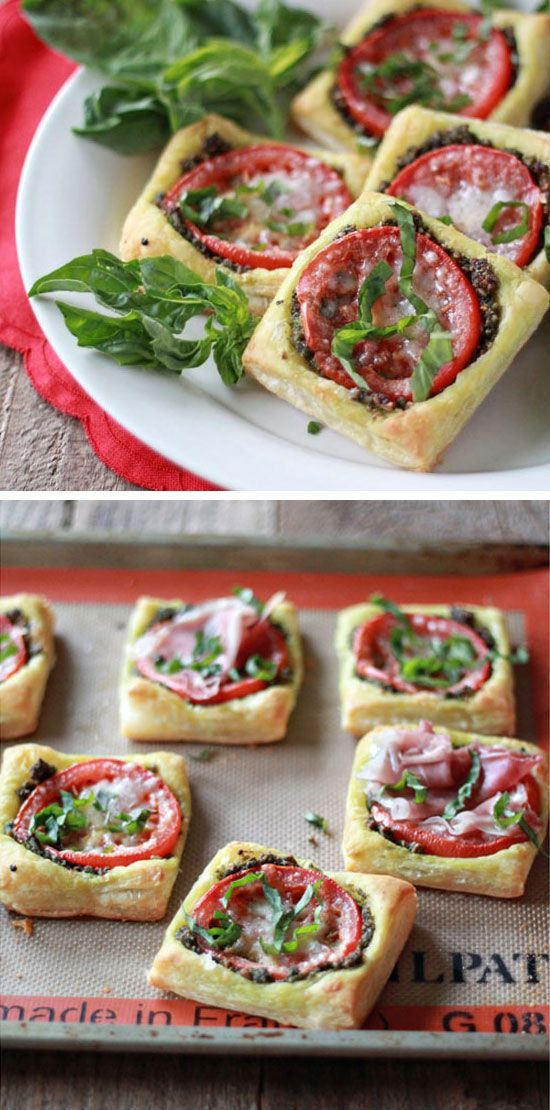 tomato pesto tarts with optional prosciutto click pic for 30 easy holiday appetizer recipes for party easy christmas appetizers for a crowd - Pinterest Christmas Appetizers