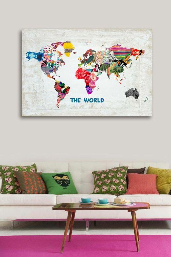 weltkarte wohnzimmer wandgemälde sofa dekokissen Geschenkideen - wandbilder für die küche