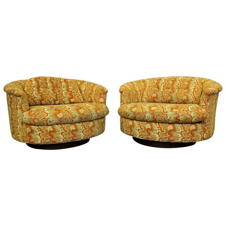 Pair Of Mid Century Modern Groovy Round Selig Swivel Lounge Chairs