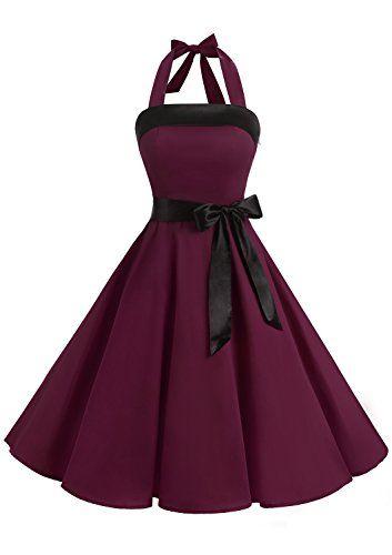 ANGGREK Robe de Soir/ée Cocktail 1950s Femme Rockabilly Swing /Épaule Denud/ée Mariage El/égante Clubwear