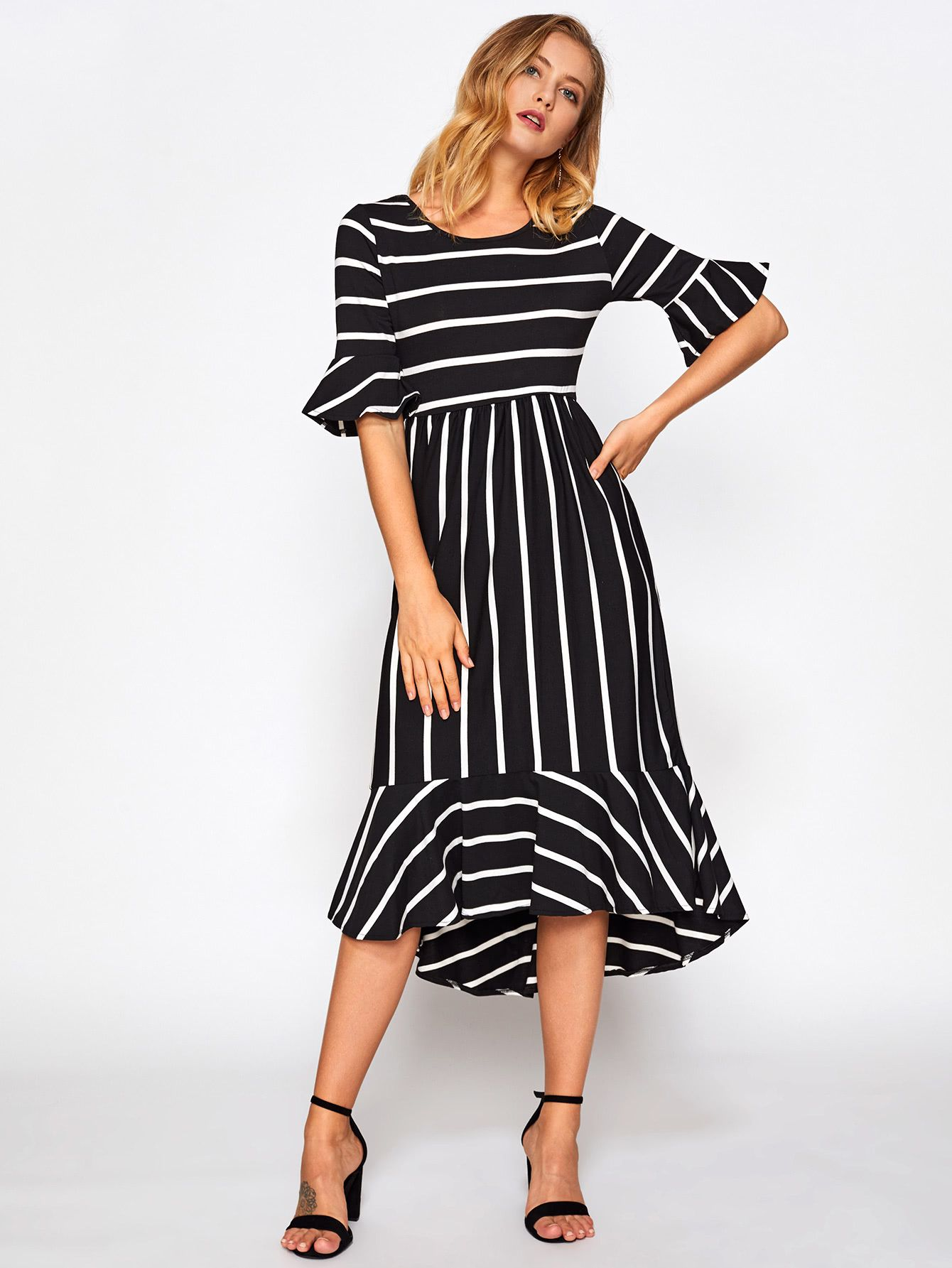 76c1acca8d Shop Fluted Sleeve Frill Hem Striped Dress online. SheIn offers Fluted  Sleeve Frill Hem Striped Dress   more to fit your fashionable needs.