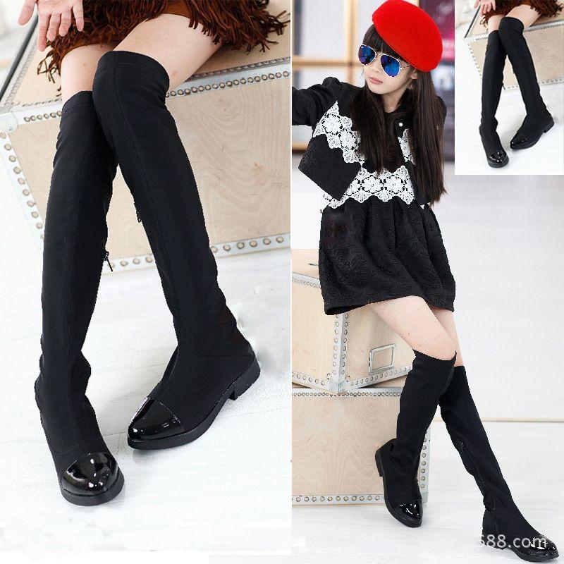 Mother & Kids Parent-child Trendy Princess Elegant Rhinestone Girl High-leg Boots Autumn Winter Female Children Cotton Shoes Size 26-37