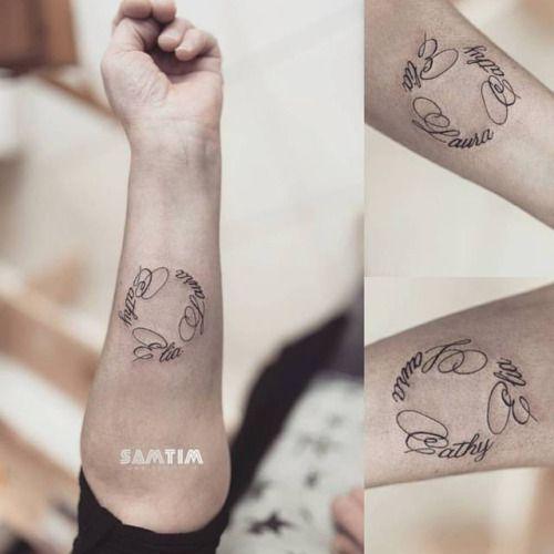 tatouage de pr noms en cercle sur le bras merci pour ta tumblrest samtim tattoos. Black Bedroom Furniture Sets. Home Design Ideas