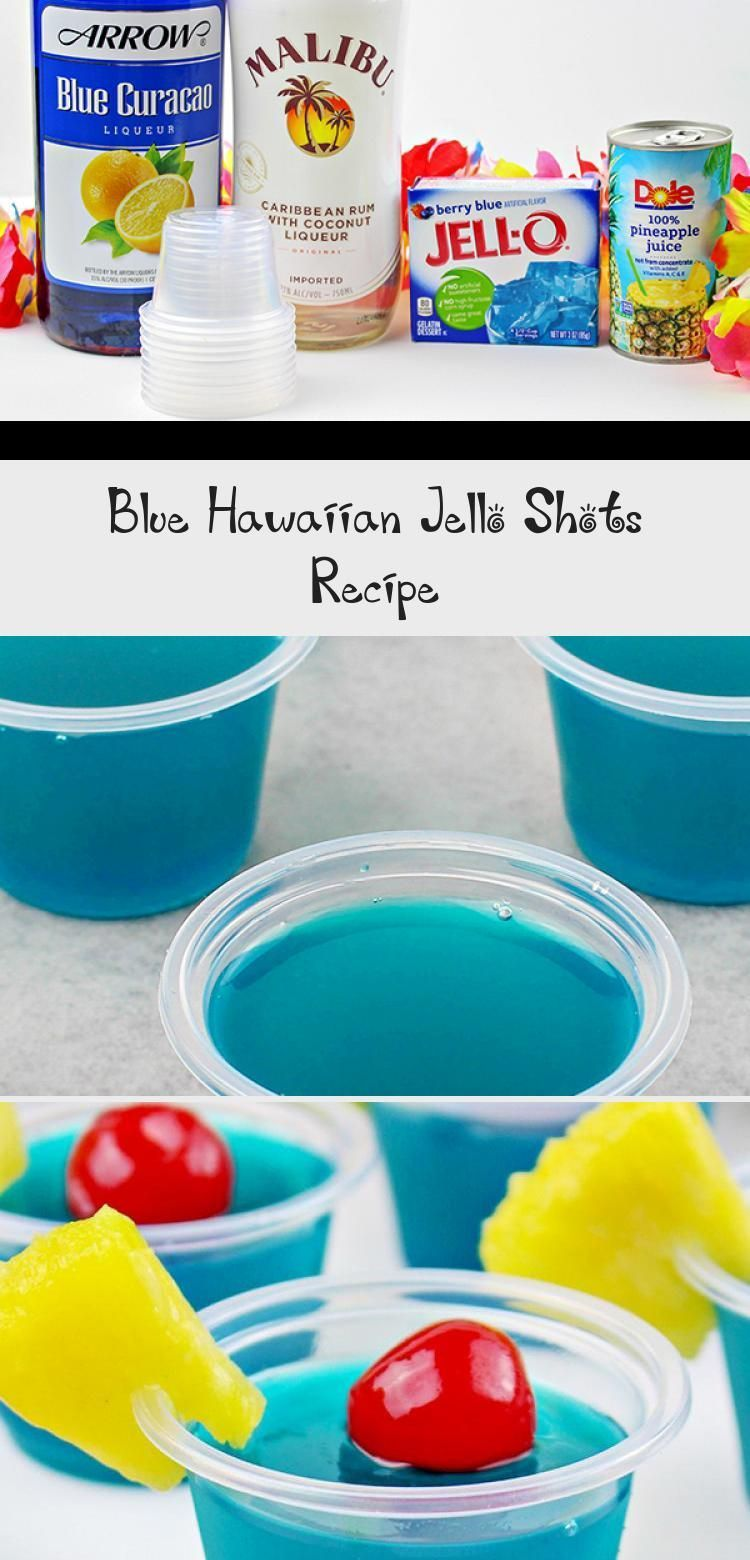 A boozy, summery jello shot recipes for adults! This Blue Hawaiian Jello Shots Recipe gives you colorful blue jello shots, made with Blue Curaçao liquor, Malibu Rum and lots of tropical flavor! Perfect for your summer parties, 4th of July, or any occasion where this boozy treat for adults will be appreciated. #jelloshots #cocktail #jello #4thofjuly #summer #DrinksIlustration #FruityDrinks #CocktailDrinks #EasyDrinks #HolidayDrinks #jelloshotsvodka