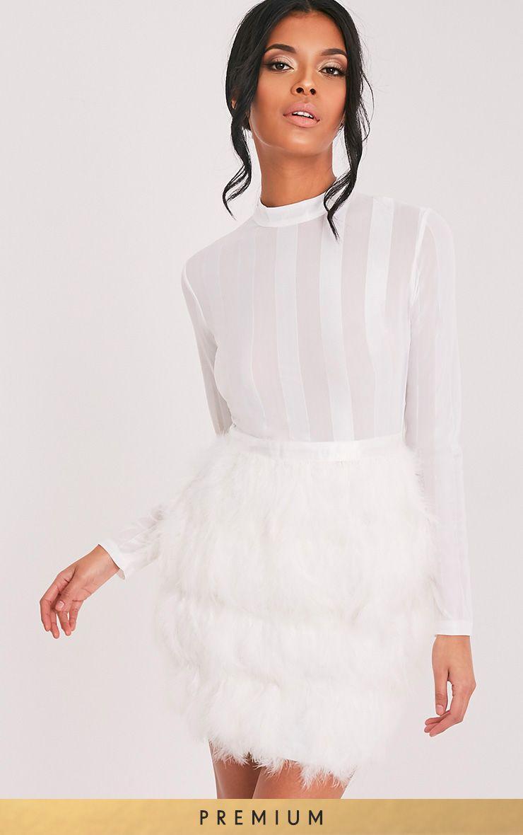 Fawn White Feather Skirt Bodycon Dress White Feather Skirt Sheer Bodycon Dress Feather Skirt