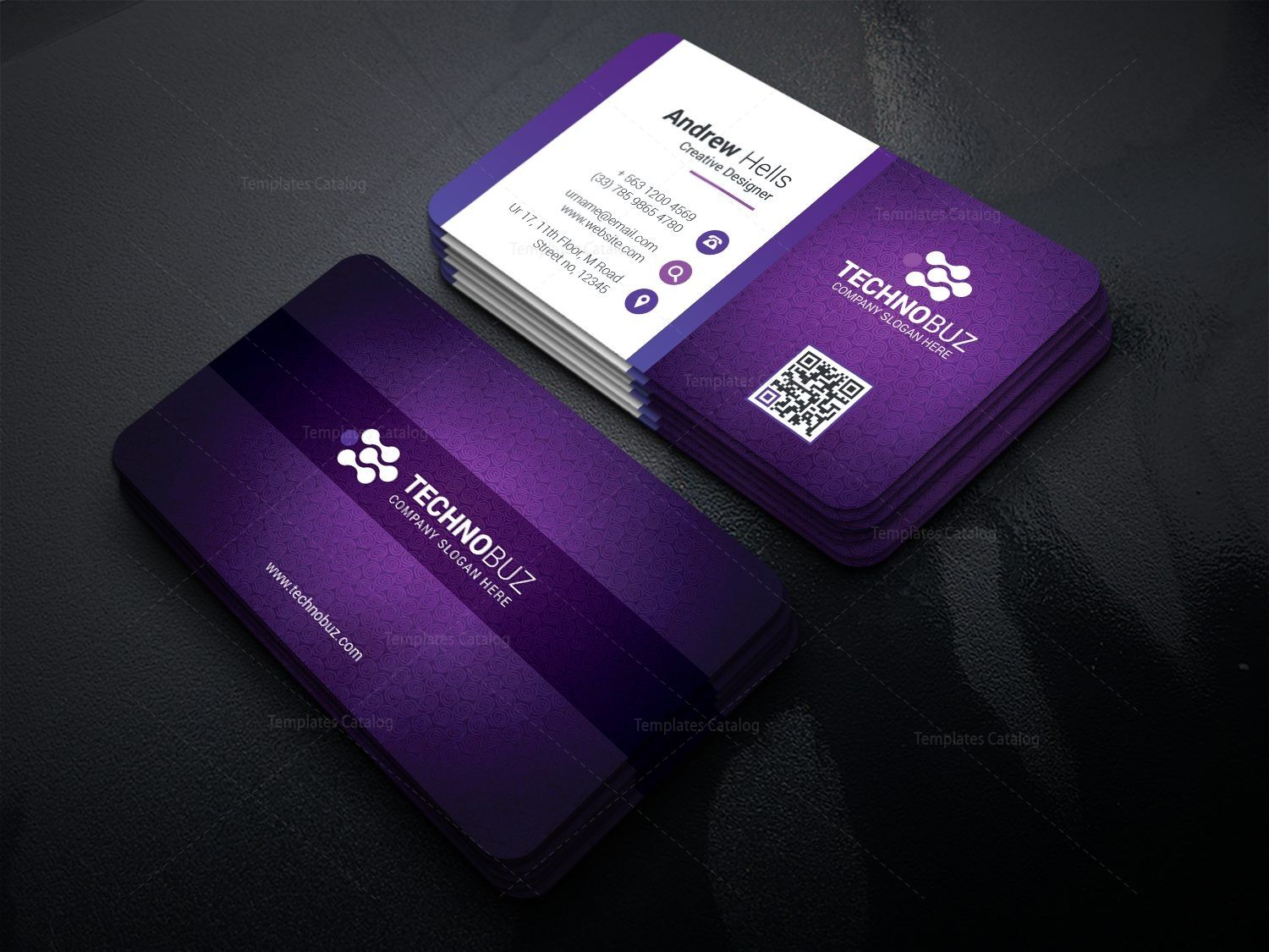 Purple Modern Business Card Template 000766 Template Catalog Modern Business Cards Business Card Template Stylish Business Cards