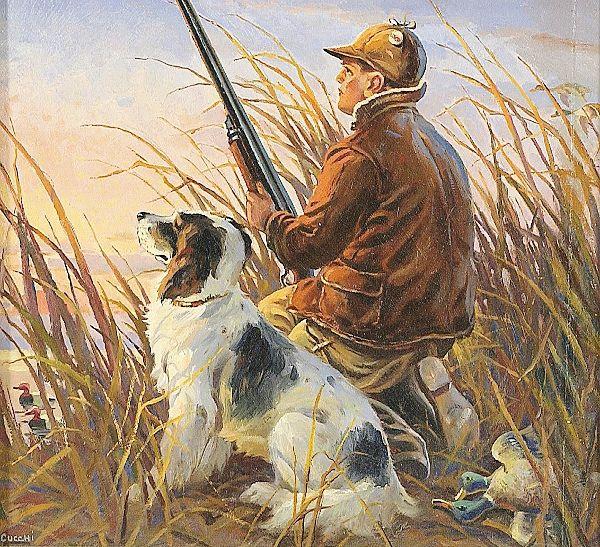 Охотник с собакой картинка для детей