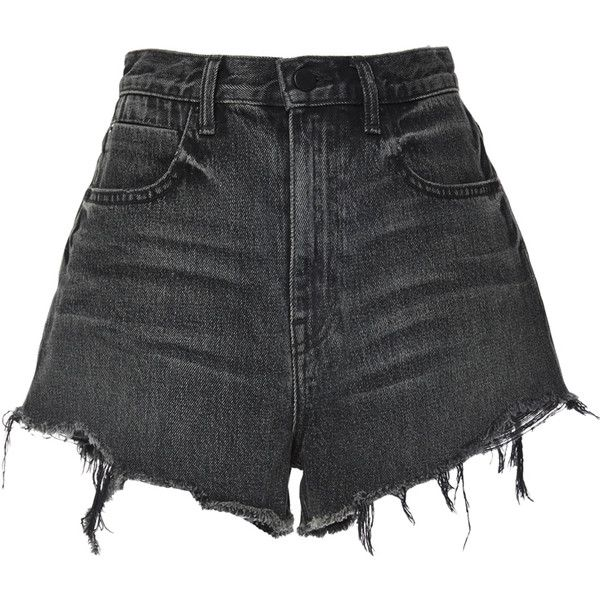 Alexander Wang Bite High Rise Frayed Shorts (1.375 DKK) ❤ liked on Polyvore featuring shorts, bottoms, short, high-waisted jean shorts, denim shorts, high waisted short shorts, high waisted jean shorts and high waisted shorts
