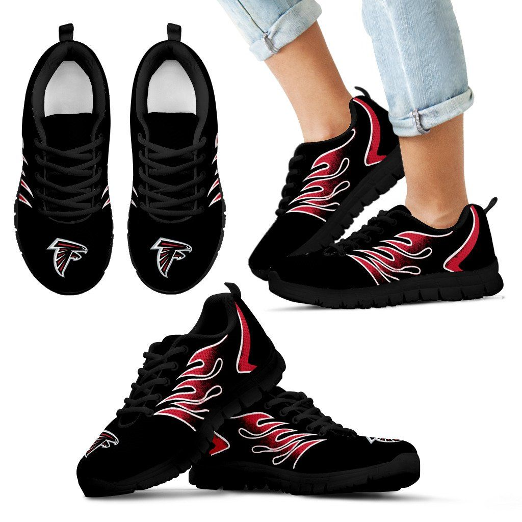 Womens Mens Flame Walking Sneakers Atlanta Falcons Football Gradient Gym Shoes Atlanta Falcons Football Sneakers Gym Shoes
