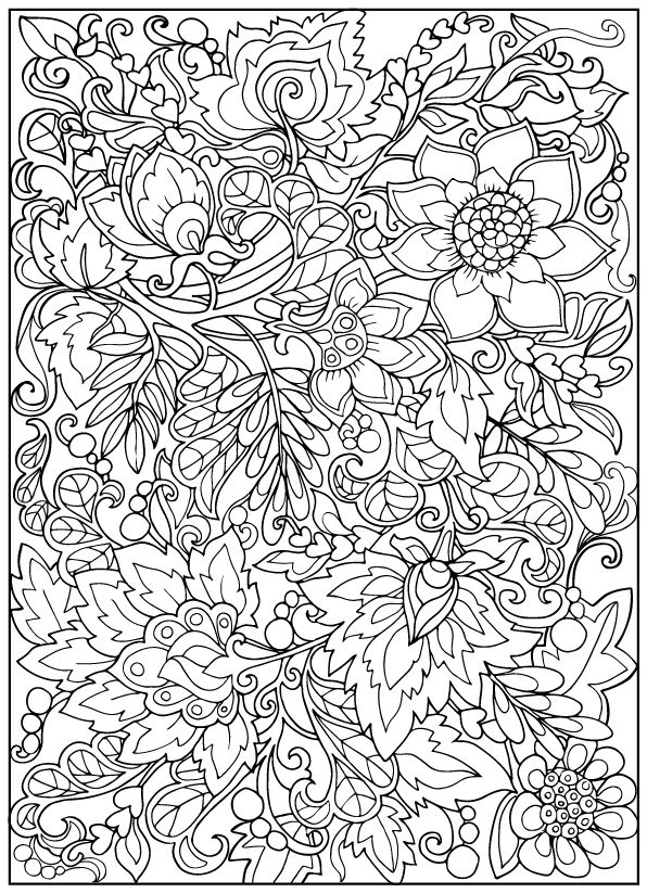 outline pictures flowers coloring pages for kids | Coloring book for adult and older children. Coloring page with vintage flowers. Outline drawing ...