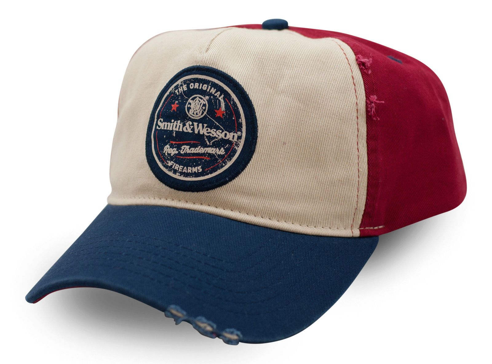 SMITH /& WESSON *TAN RED /& BLUE* HIGH CROWN TWILL Logo HAT CAP *NEW* SW70