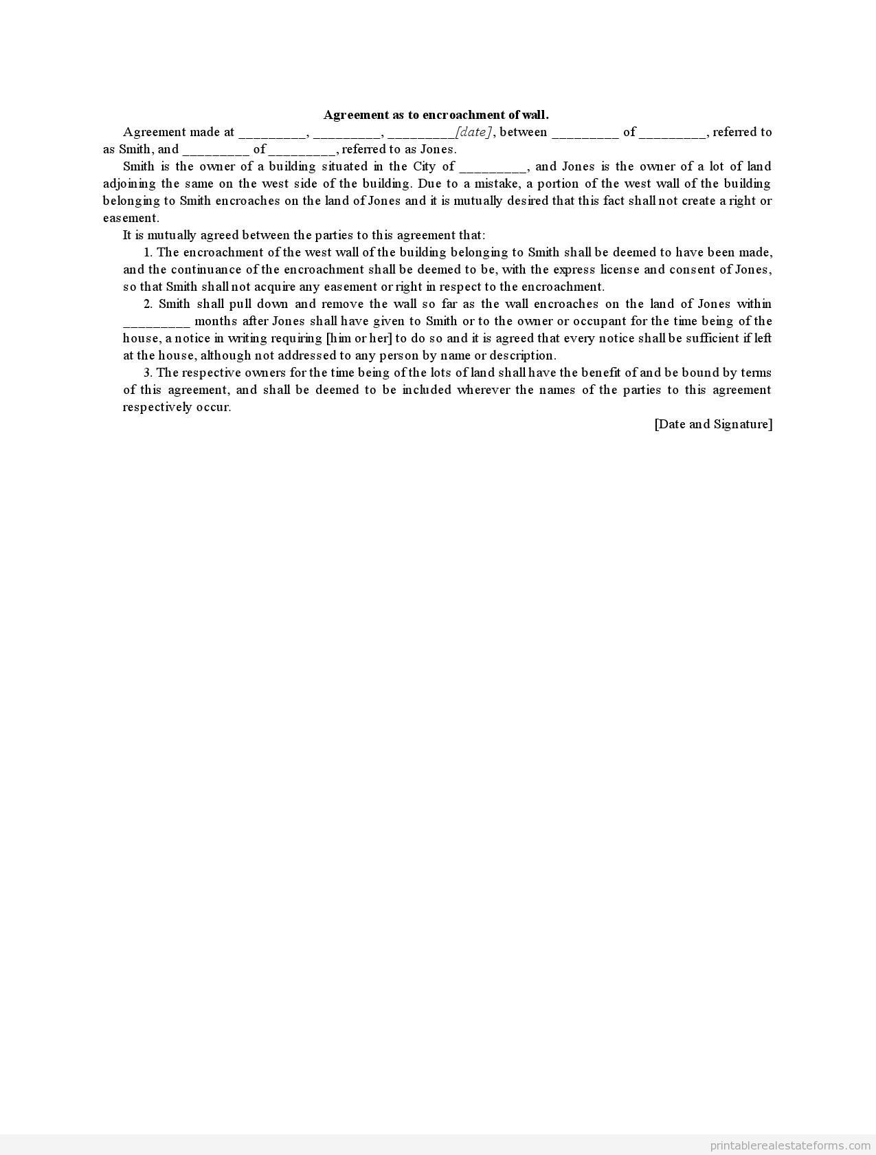 Sample Printable Agreement As To Encroachment Of Wall Form Sample