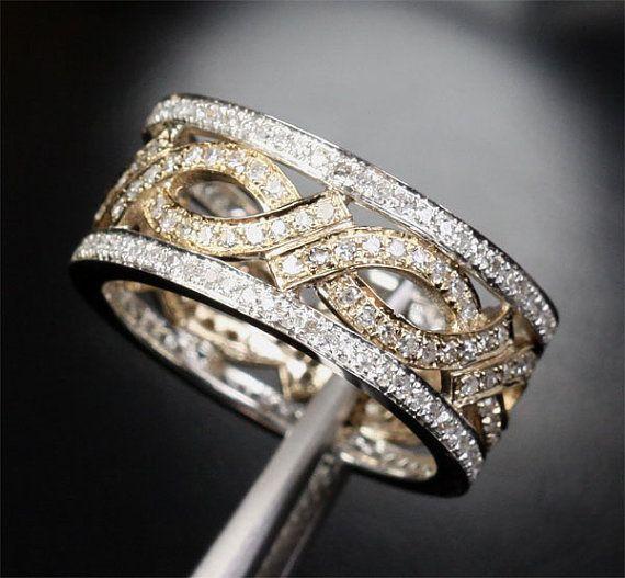 Unique Eternity Band 1 05ct Diamond 14k Two Tone Gold Women Men Wedding Ring On Etsy