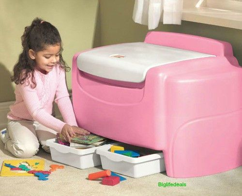 toy chest pink girls x lg 6 ft little tikes kids storage bin play room bedroom littletikes. Black Bedroom Furniture Sets. Home Design Ideas