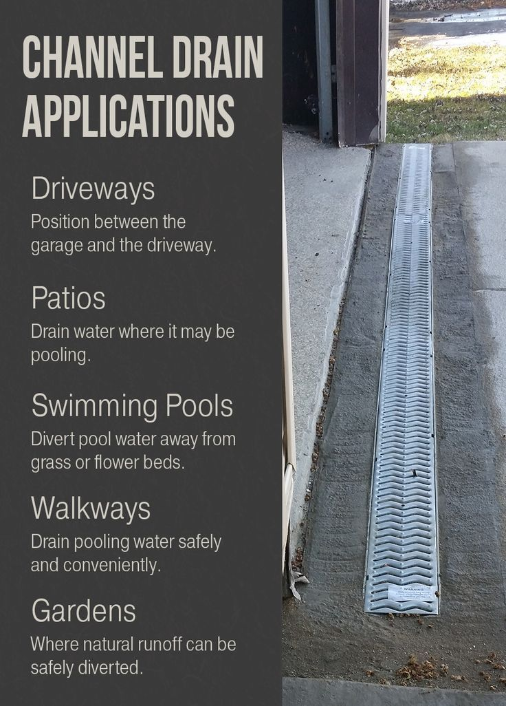 Divert Standing Water From Your Driveway Patio Garden And More With Channel Drain Pooling Water Is A Safety Ha Landscape Drainage Trench Drain Yard Drainage