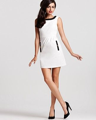 Sleeveless Color Block Dress, $340. Moschino Cheap and Chic.