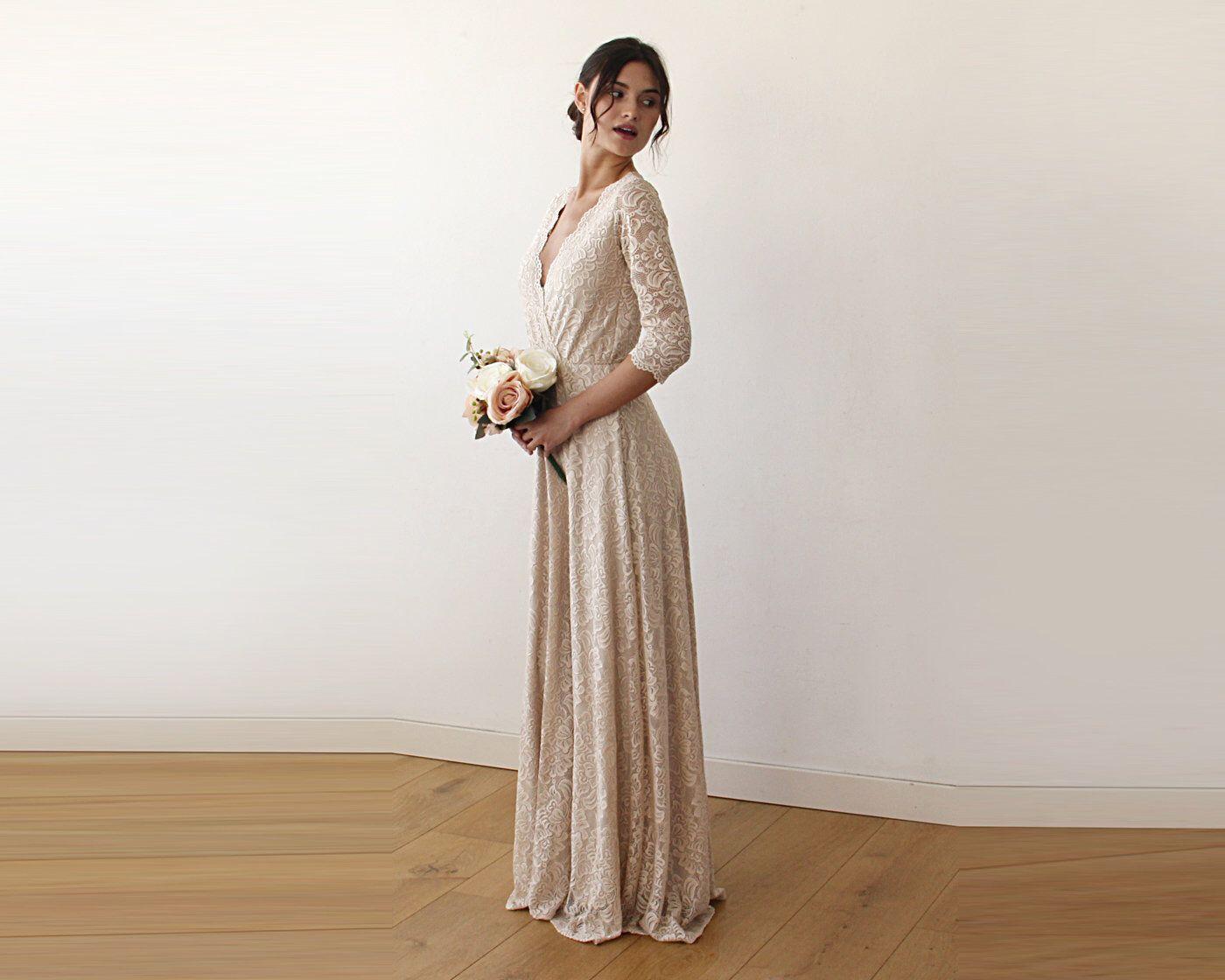 b16a3a3de5d Three Quarters Sleeves Lace Wedding Dress
