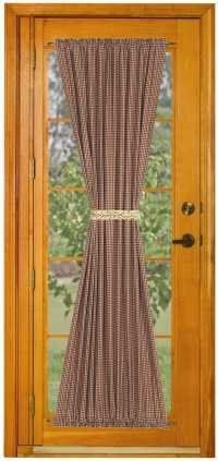 Checker Berry French Door Panel By Primitive Home Decors 34 95 100 Cotton Fabric Window Treatments French Door Curtains French Doors Sliding Door Curtains