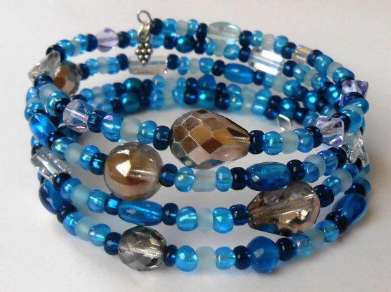 New jewelry - unique, handmade bead memory wire bracelet! Deep Blue Memory Wire Bracelet by VineDesignBeads on Etsy, $16.00