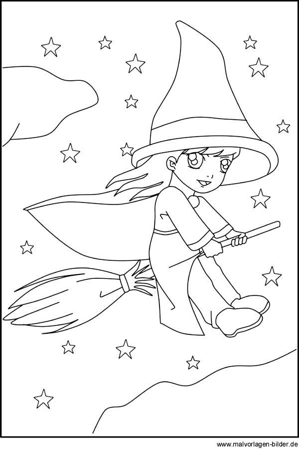Kleine Hexe auf ihrem Besen - Gratis Ausmalbilder für