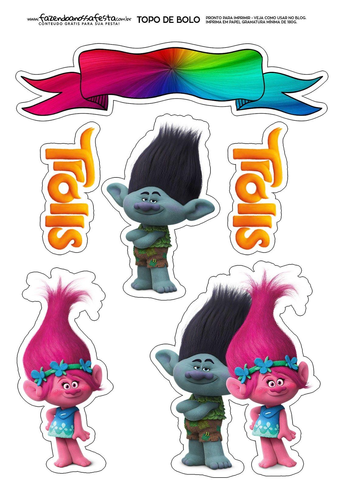 Trolls: Toppers para Tartas, Tortas, Pasteles, Bizcochos o Cakes ...