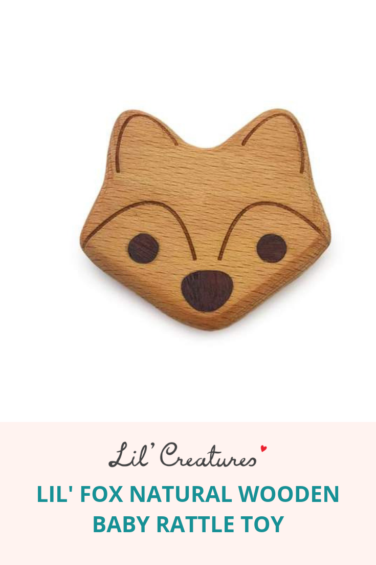 Lil Fox Natural Wooden Baby Rattle Toy In 2019 Lil Creatures Www
