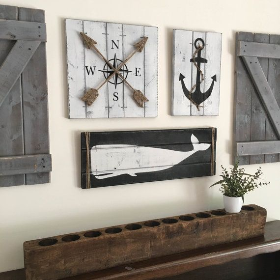 NAUTICAL ART SET  3 piece set rustic beach house decor Wooden Nautical Decor Anchor Whale nursery