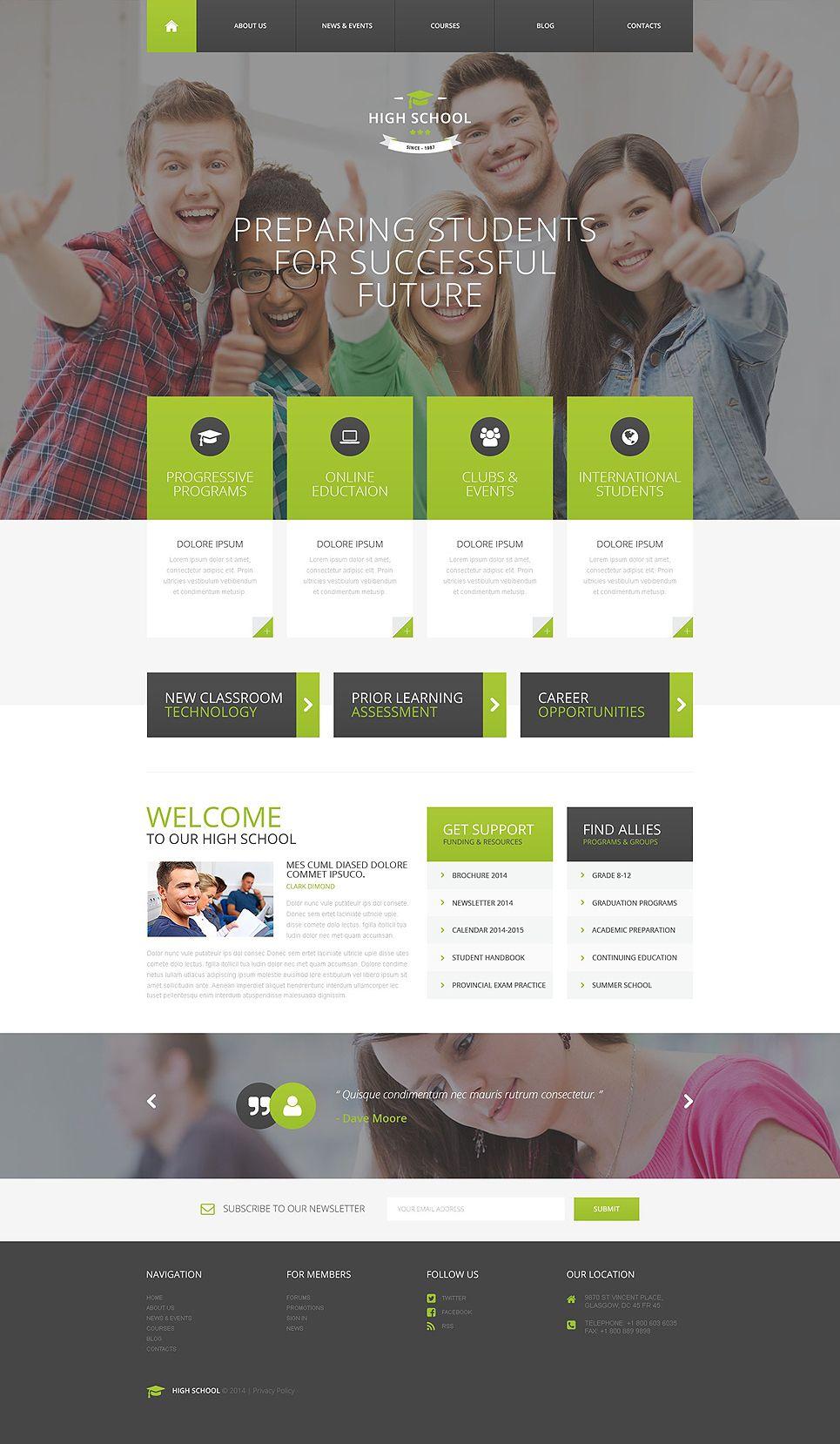 High School Psd Template Wordpress Theme Responsive Web Layout