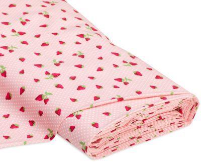 "Baumwollstoff ""Erdbeeren"", rosa/rot € 7,50"