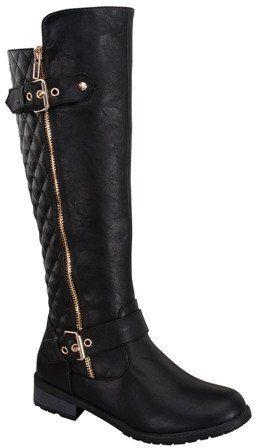 Black Buckle Knee High Boot
