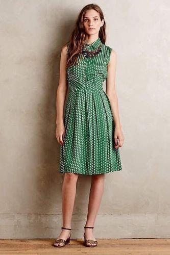 5f5a2e78c997 Anthropologie Brynn Dress by 11-1-Tylho Green White Polka Dot NWT $138 Sz  Pet LG #Anthropologie111Thylo #Versatile
