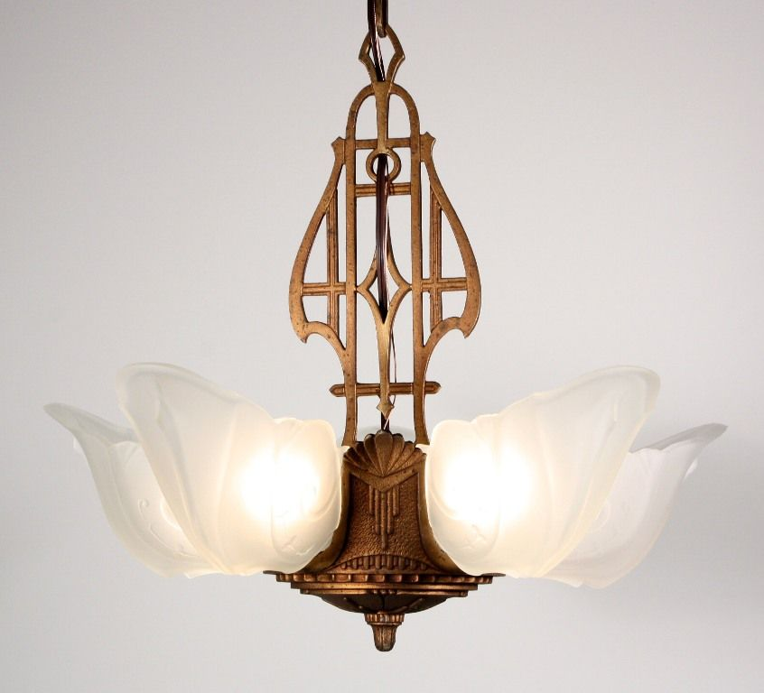 Fabulous Antique Five Light Art Deco Slip Shade Chandelier Cast Iron 1930s