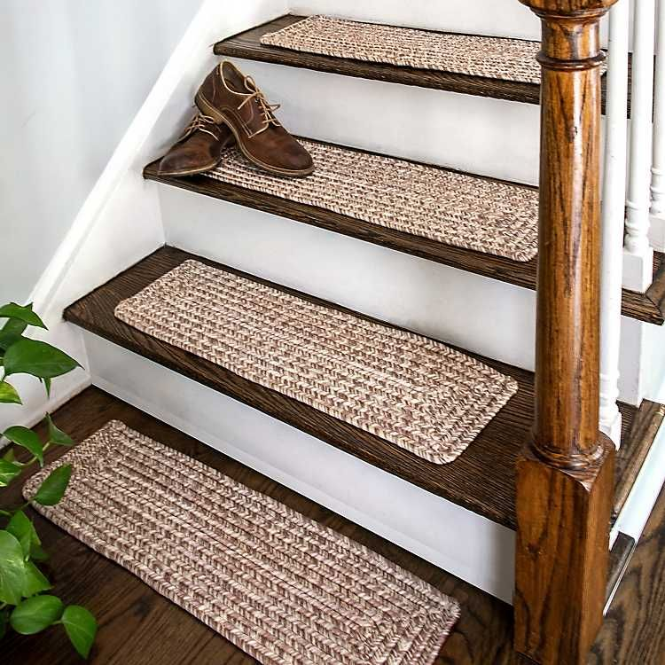 Best Leah Tan Braided 13 Pc Rectangle Stair Tread Set In 2020 400 x 300