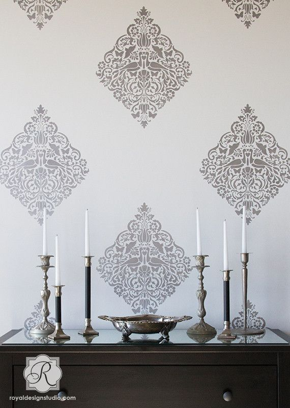 Wall Painting Stencils   Love Birds Lace Damask Wall Stencils From Royal  Design Studio