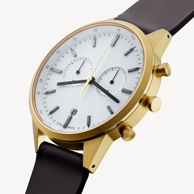 10f9c7d08 Uniform Wares C41 chronograph watch in PVD satin gold with black slim  cordovan leather strap