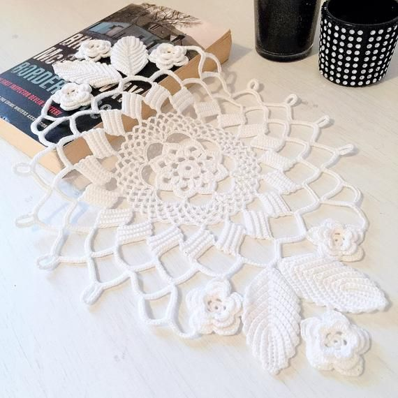 Crochet lace table topper/Irish crochet flowers/Lace tablecloths/Crochet placemats/Oval placemat/Irish lace centerpiece/Crochet potholder #irishcrochetflowers